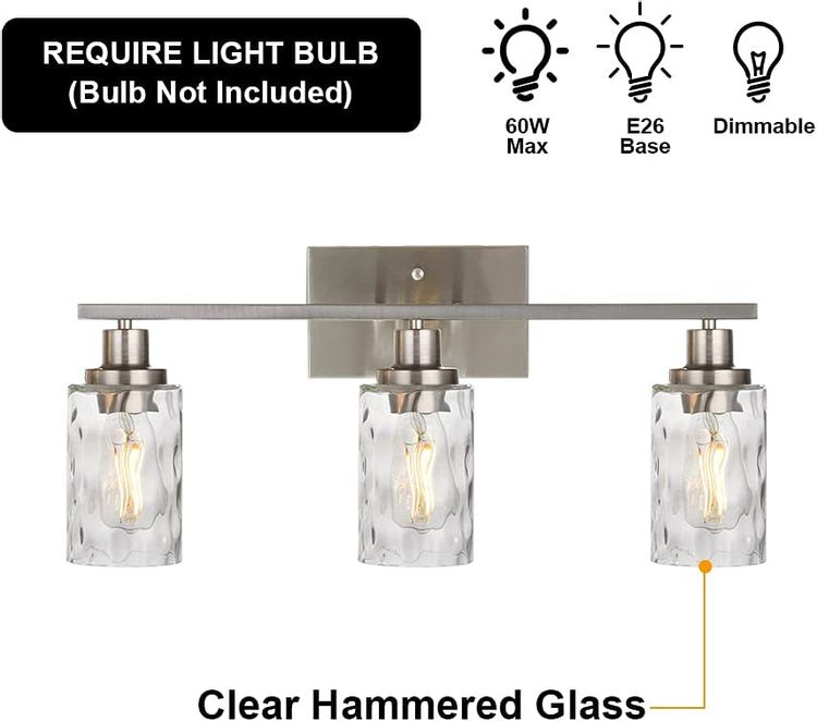 Banato Lighting 3-Light Modern Bathroom Lighting Fixtures Over Mirror Brushed Nickel Finished, Industrial Vanity Lights Wall Mount for Bathroom Mirror Cabinet Dressing Table, Hammered Glass Shade