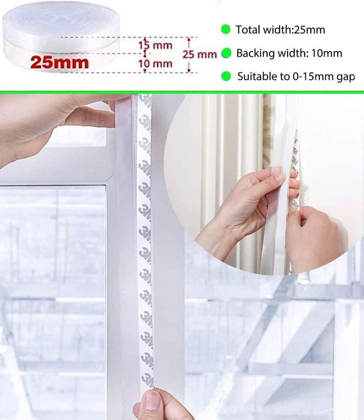 2021 Updated Silicone Seal Strip, Weather Stripping Door Bottom Seal Strip - House and Glass Shower Doors Silicone Sealing for Door and Windows Gaps of Anti,25MM