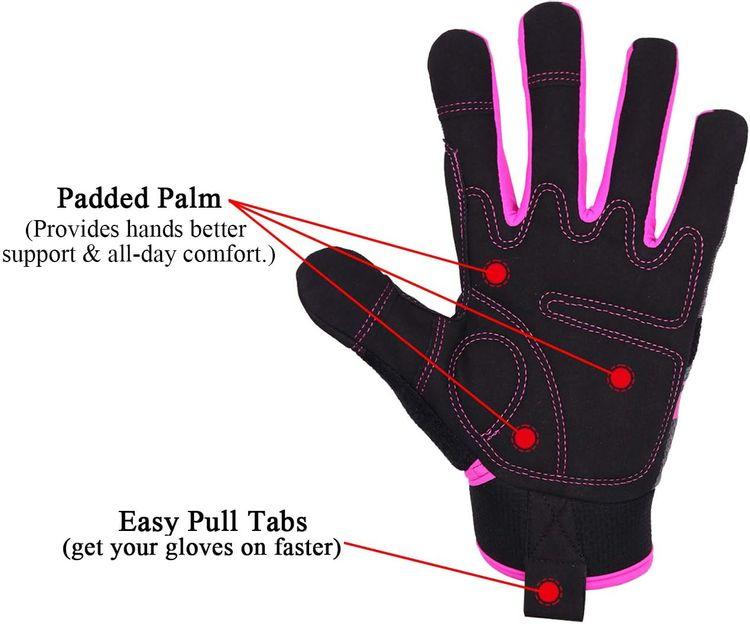 HANDLANDY Utility Work Gloves Women, Flexible Yard Working Gloves Touch Screen