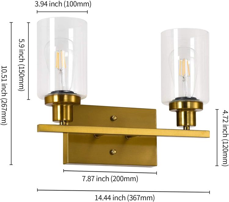 SGLfarmty Bathroom Vanity 2 Lights,Rustic Bathroom Vanity Brushed Brass Lights, Wall Sconce Bathroom Lighting with Glass Lamp Shade