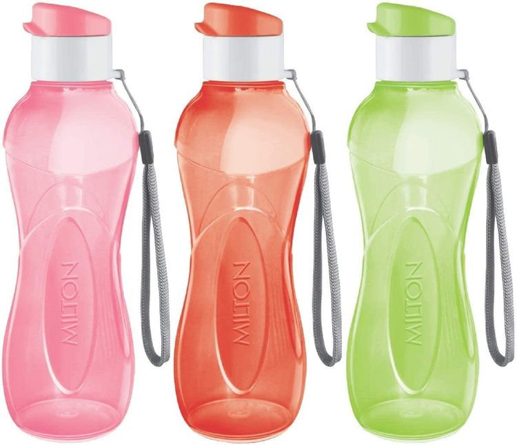 MILTON Water Bottle Kids Reusable Leakproof 12 Oz Plastic Wide Mouth Large Big Drink Bottle BPA & Leak Free with Handle Strap Carrier for Cycling Camping Hiking Gym Yoga