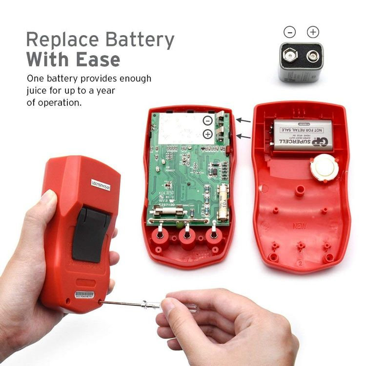 Etekcity Digital Multimeter, Voltage Tester Volt Ohm Amp Meter with Continuity, Diode and Resistance Test, Dual Fused for Anti-Burn, Red, MSR-R500