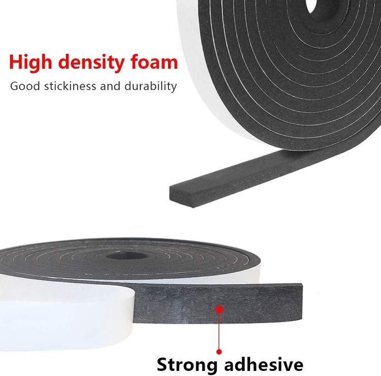 Weather Stripping Door Seal Strip Foam Insulation Tape Self Adhesive Soundproof Foam Insulating Strip for Door, Windows, Air Conditioning, HVAC, Cooling. (W:1In x T: 1/8In x L: 33Ft)