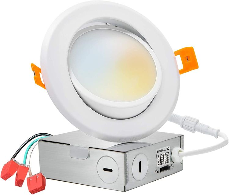 PROCURU 4-Inch Gimbal Adjustable LED 2700K-6000K Color Selectable, Ultra-Thin Recessed Ceiling Downlight with J-Box, Dimmable Can-Killer Downlight, 9Watt 700Lm, ETL Certified