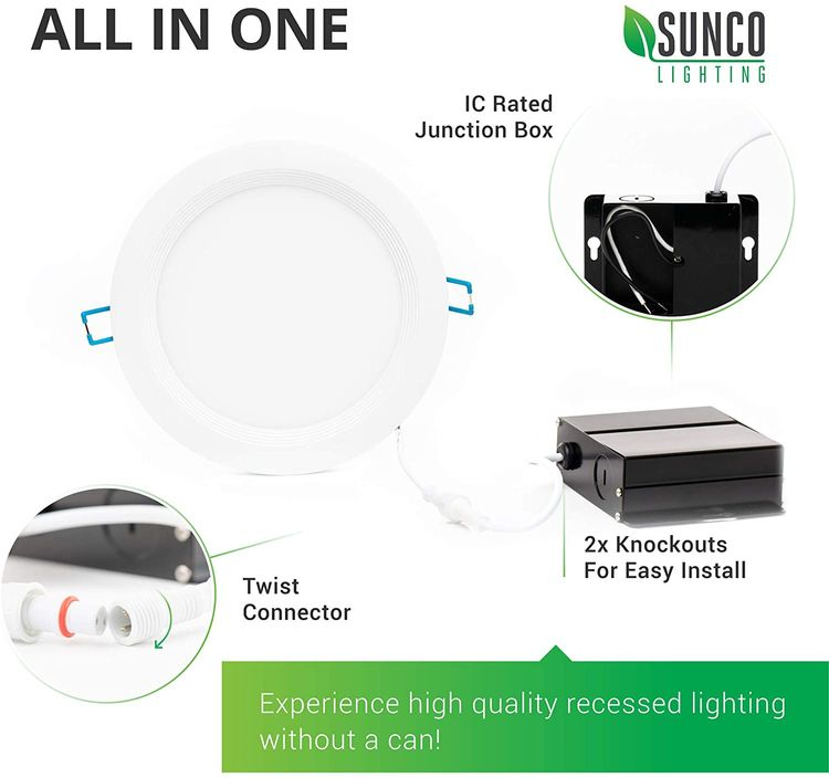Sunco Lighting 4 Pack 6 Inch Slim LED Downlight, Baffle Trim, Junction Box, 14W=100W, 850 LM, Dimmable, 2700K Soft White, Recessed Jbox Fixture, IC Rated, Retrofit Installation - ETL & Energy Star