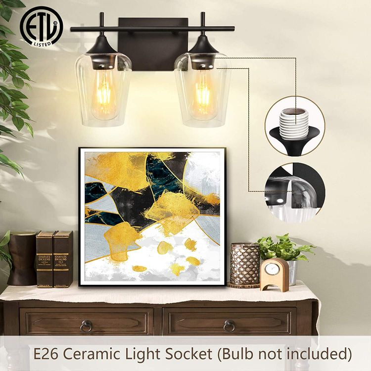 Vanity Lights Fixtures, Zicbol 2 Light Bathroom Light, Black Wall Light with Clear Glass Shade, Modern Bathroom Wall Sconce Lighting for Bath, Living Room, Bedroom, Stairs, Gallery, Restaurant