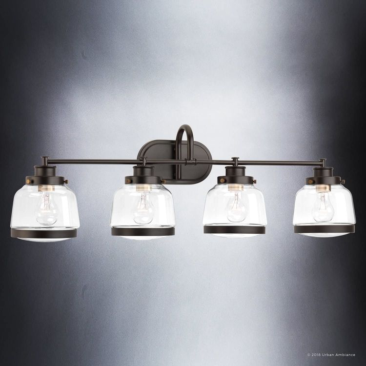 """Luxury Industrial Chic Bathroom Vanity Light, Large Size: 11.25""""H x 35.75""""W, with Art Deco Style Elements, Olde Bronze Finish, UHP2541 from The Nottingham Collection by Urban Ambiance"""