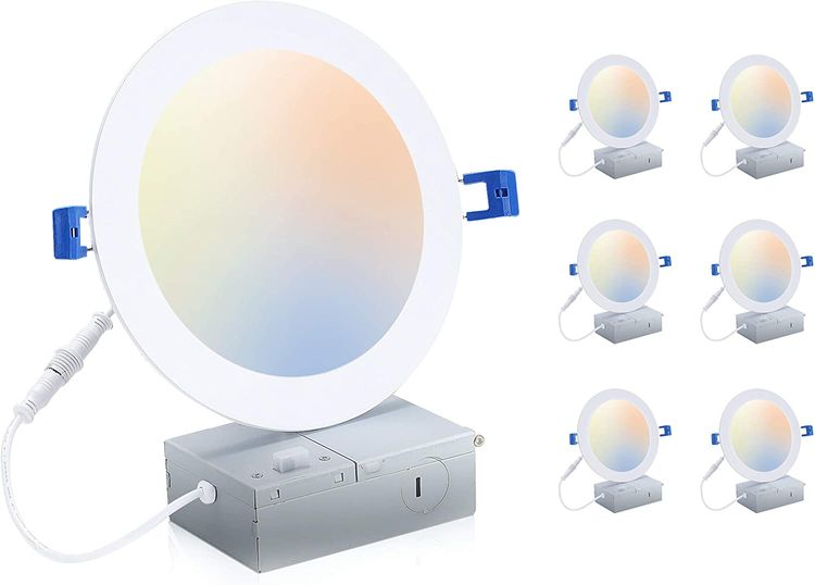 Cloudy Bay 6 inch 3000K/ 4000K/ 5000K Three Color Temperature Selectable, Dimmable 15W CRI90+, Ultra Thin LED Recessed Light with Junction Box, IC Rated, Air Tight, ETL/JA8, White , 6PK