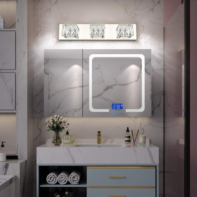 ZUZITO LED Bathroom Vanity Lighting Fixtures Modern Crystal Vanity Light Over Mirror White Light(3 Lights)