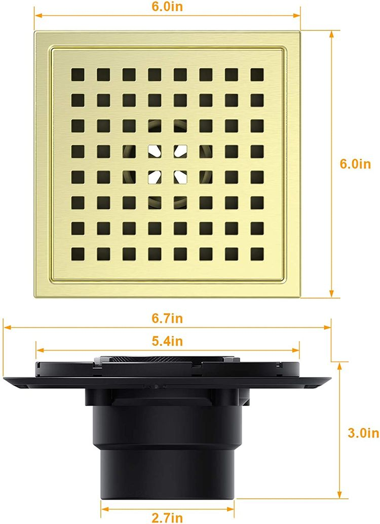 Square Shower Drain 6 inch 304 Stainless Steel Bathroom Floor Drain, Adjustable Feet, Threaded Adapter Included,Hair Strainer.Brushed Gold