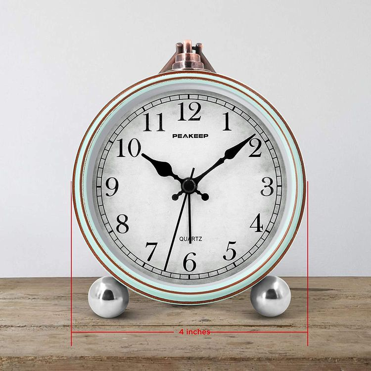 """Peakeep 4"""" Battery Operated Antique Retro Analog Alarm Clock, Small Silent Bedside Desk Table Gift Clock"""