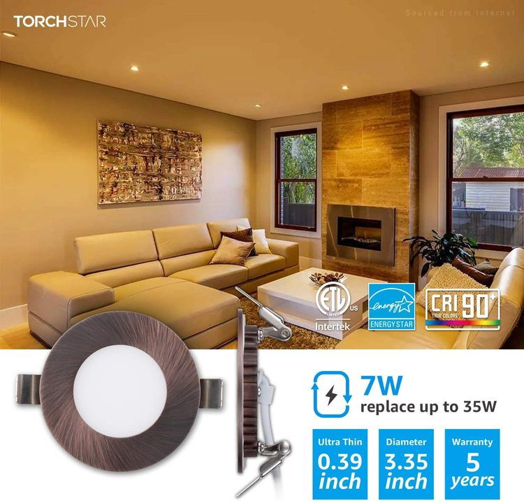 TORCHSTAR E-Lite Series 7W 3 Inch Ultra-Thin LED Recessed Light with J-Box, Dimmable, Slim Panel Downlight, Oil Rubbed Bronze, 2700K Soft White, ETL & Energy Star Certified, Pack of 6