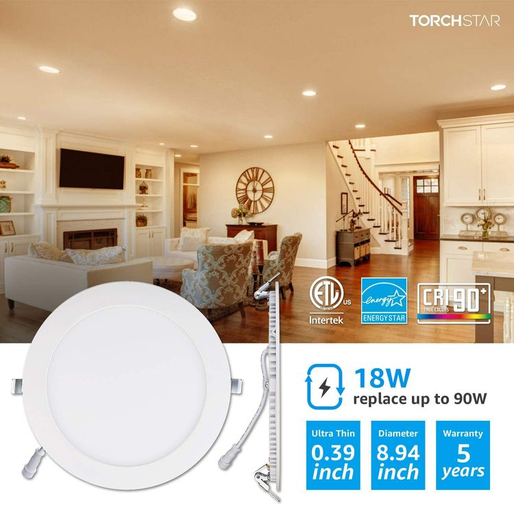 TORCHSTAR E-Star Series 18W 8 Inch Ultra-Thin LED Recessed Light with J-Box, Dimmable, 1250lm Slim Panel Downlight, White, 2700K Soft White, ETL & Energy Star Certified, Pack of 6