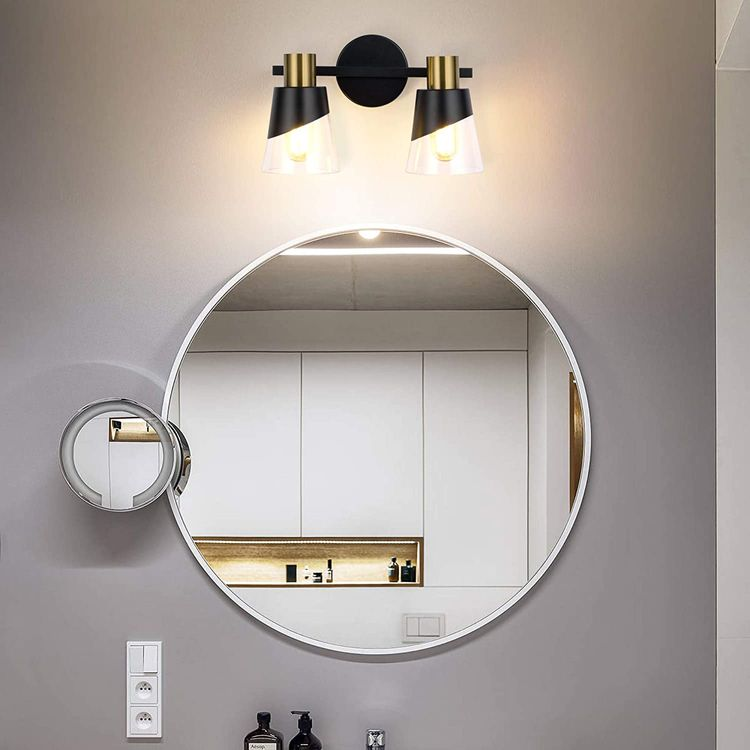 Bathroom Light Fixtures Over Mirror 13 inch Vintage Vanity Lighting Fixtures Black and Gold Design with Bevelled Edge and Clear Glass Shade Wall Lamp (2 Lights)