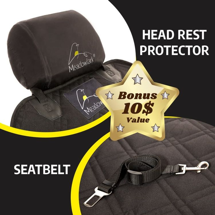 Meadowlark Car Seat Cover for Dogs. Premium Extra Thick Quilted Full Protection Front Seat Protector,Side Flaps, Waterproof, Durable, Nonslip Design, Free Bonus– Pet Seat Belt & Headrest Protector
