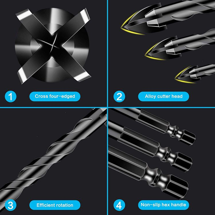 10 Pcs Masonry Drill Bits, Concrete Drill Bit Set for Tile, Brick, Glass, Plastic and Wood, Tungsten Carbide Tip Work with Ceramic Tile, Wall Mirror, Paver on Concrete or Brick Wall.
