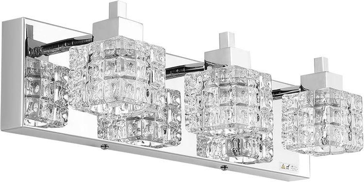 TRLIFE Bathroom Vanity Light Fixtures, Modern Bathroom Lights Over Mirror, 3 Lights Vanity Light 19inches Crystal Glass Vanity Lights