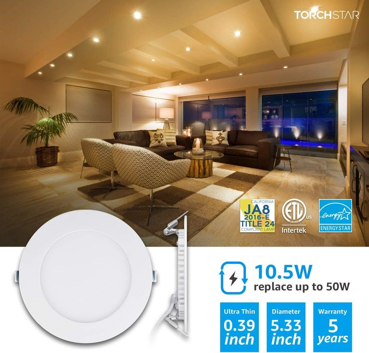 TORCHSTAR 10.5W 4-Inch Slim LED Recessed Light with J-Box, 2700K Soft White Dimmable Panel Downlight, CRI90, 680lm, ETL & Energy Star, White, Pack of 6