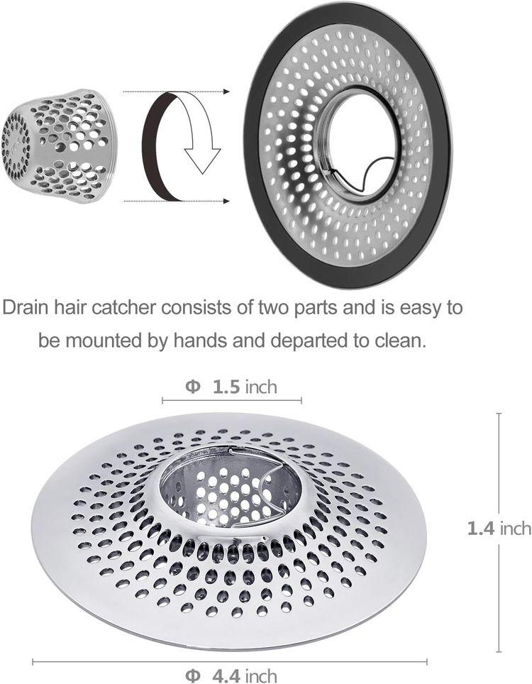 LEKEYE Drain Hair Catcher/Bathtub Shower Drain Hair Trap/Strainer Stainless Steel Drain Protector(Patented Product)