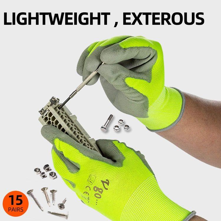 Vgo 15-Pairs Polyurethane Coated Gardening and Work Gloves (Size S, Yellow, PU2103)