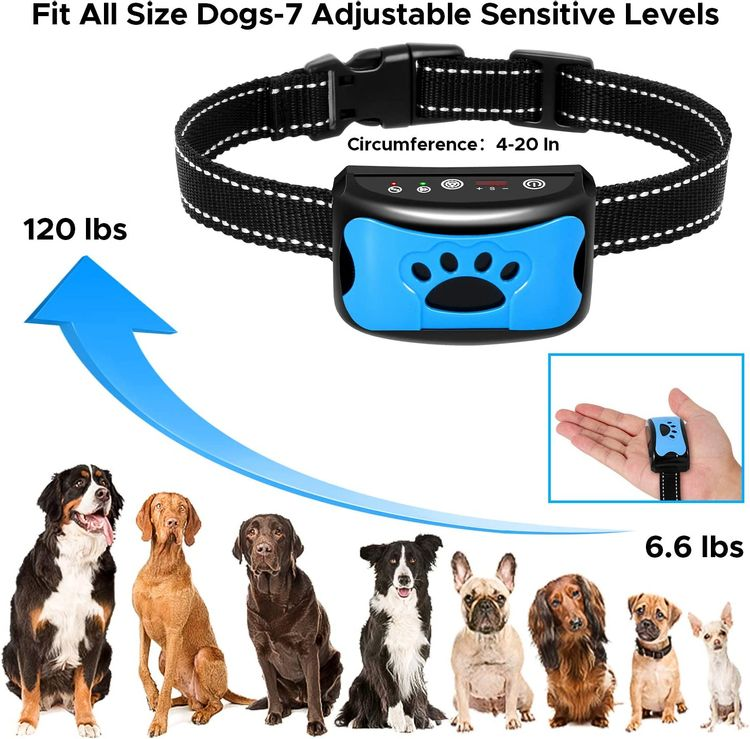 BATVOX Bark Collar 2 Pack Rechargeable No Harm Dog Barking Collar with Vibration, Sound and No Shock for Small Medium Large Dogs (2020 Upgraded)