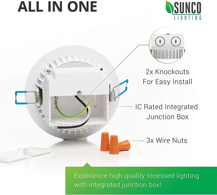 Sunco Lighting 12 Pack 4 Inch Slim LED Downlight, Integrated Junction Box,10W=60W, 650 LM, Dimmable, 2700K Soft White, Recessed Jbox Fixture, IC Rated, Simple Retrofit Installation - ETL & Energy Star
