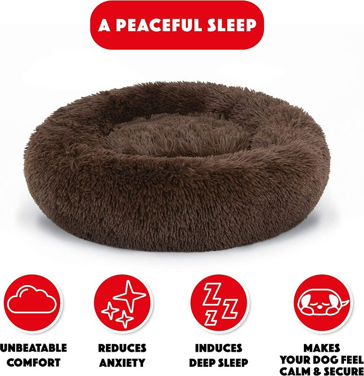 The Dog's Bed Sound Sleep Donut Dog Bed, Small Chocolate Brown Plush Removable Cover Premium Calming Nest Bed