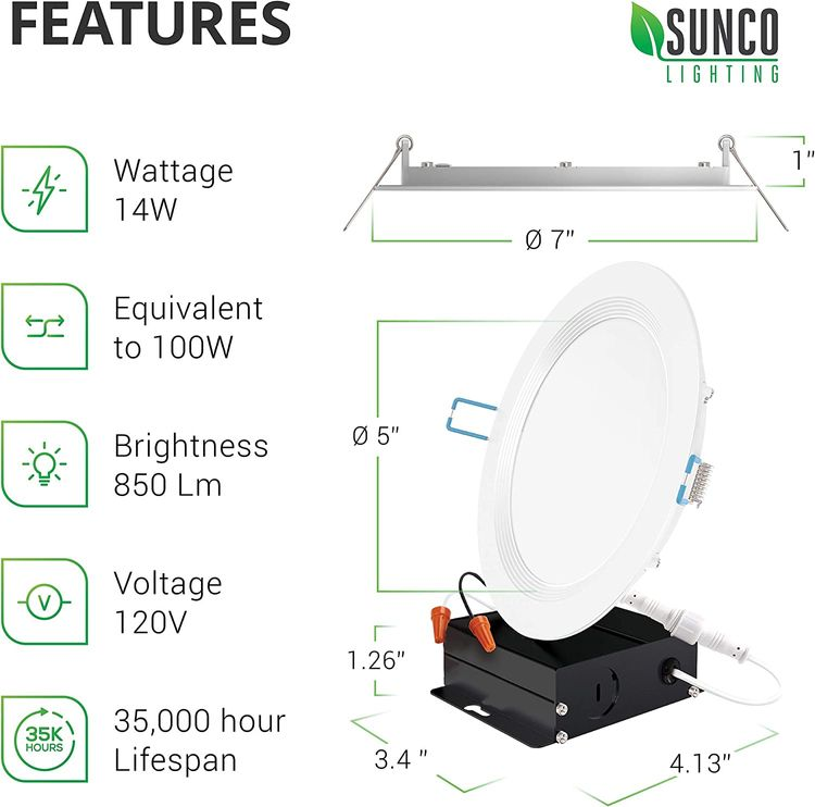 Sunco Lighting 12 Pack 6 Inch Slim LED Downlight, Baffle Trim, Junction Box, 14W=100W, 850 LM, Dimmable, 2700K Soft White, Recessed Jbox Fixture, IC Rated, Retrofit Installation - ETL & Energy Star