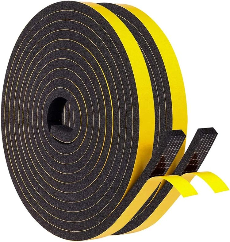 """Foam Weather Stripping 1/2"""" W x 1/4"""" T for Door Window Insulation, Draft Excluder for Soundproofing Anti Collision Block Gap, 2 Rolls Total 26 Ft Long"""