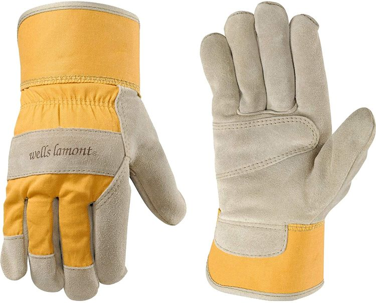 Women's Heavy Duty Leather Palm Work Gloves with Safety Cuff (Wells Lamont 4113S)