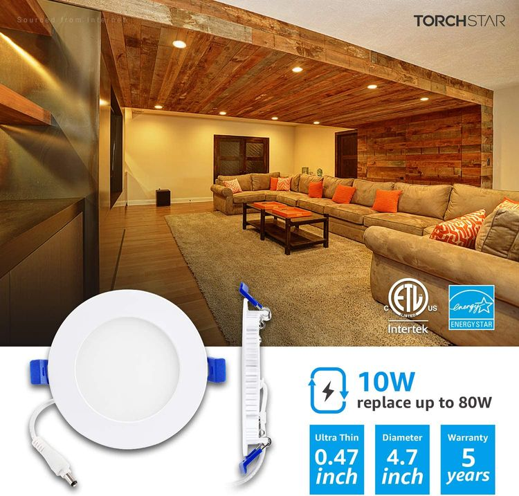 TORCHSTAR Basic Series 12-Pack 10W 4 Inch LED Recessed Lighting with Junction Box, 2700K Soft White, 5%-100% Dimmable, ETL and Energy Star Certified