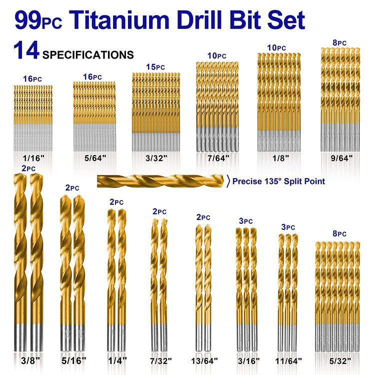 """99 Pieces Titanium Twist Drill Bit Set, Anti-Walking 135° Tip High Speed Steel, Size from 1/16"""" up to 3/8"""", Ideal for Wood/Steel/Aluminum/Zinc Alloy, with Hard Storage"""
