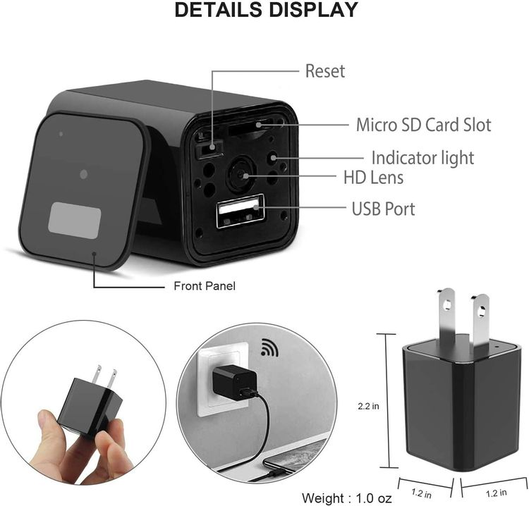 USB Charger Camera WiFi Camera Night Vision - Motion Detection Nanny Camera - Loop Recording Security Camera for Home Surveillance - Video Recorder Real-Time - HD 1080P BAIDREN