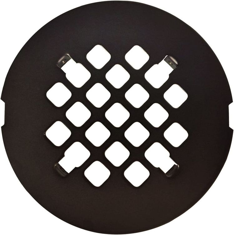 """Oil Rubbed Bronze Round SNAP-IN Shower Drain Grate 4-1/4"""" Replacement Cover"""