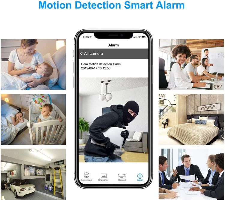 Mini Camera, WiFi Camera Clock 1080P HD Wireless Small Nanny Cam for Home Security Monitor Video Recorder 150 Angle Night Vision Motion Detection Real-time Remote Monitoring Power Bank(New Version)