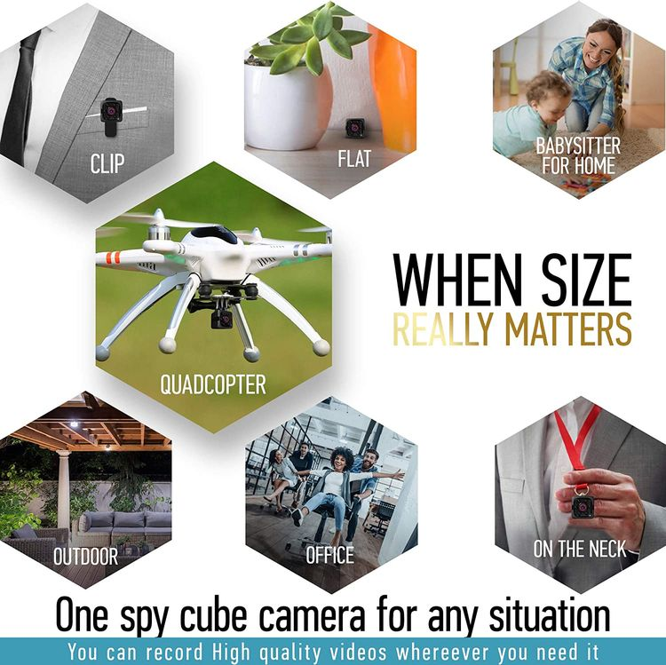 Mini Spy Camera 1080P Hidden Camera - Portable Small HD Nanny Cam with Night Vision and Motion Detection - Indoor Covert Security Camera for Home and Office - Hidden Spy Cam - Built-in Battery