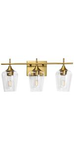3 Light Vanity Lights Gold