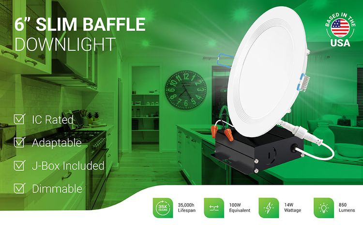 6 Inch Slim LED Downlight, Baffle Trim, Recessed Jbox Fixture, IC Rated, Retrofit Installation