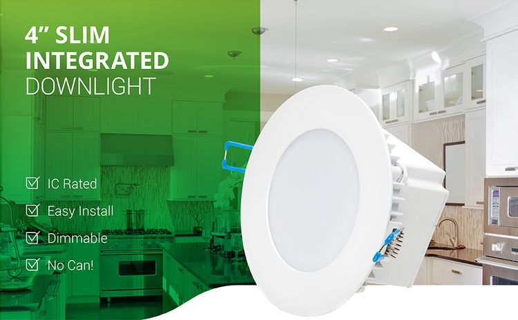 4 Inch Slim LED Downlight Integrated Junction Box Recessed IC Rated Retrofit ETL & Energy Star