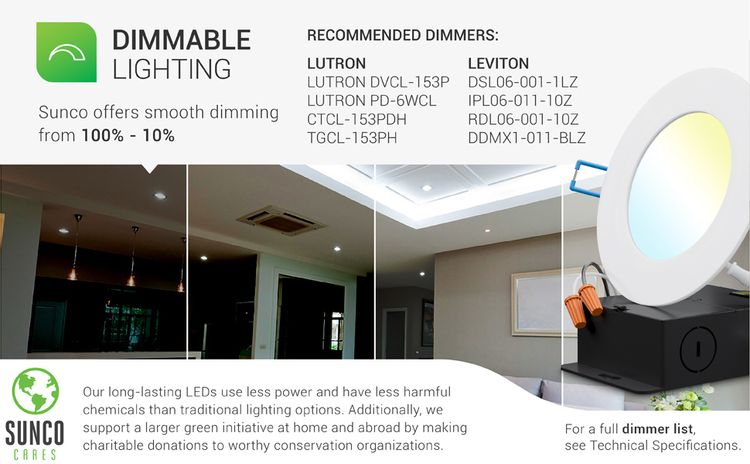 4 Inch Slim LED Downlight with Junction Box, Recessed, Simple Retrofit Install, selectable cct