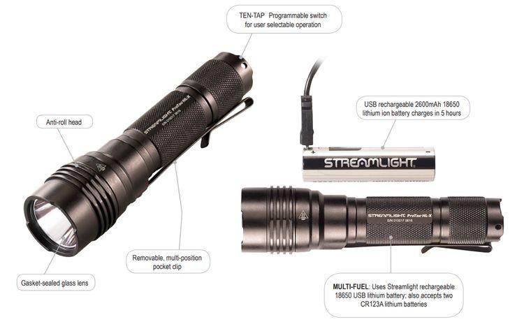 Streamlight 88084 ProTac HL-X USB Multi-Fuel, High Lumen Tactical Flashlight, Black - 1000 Lumens